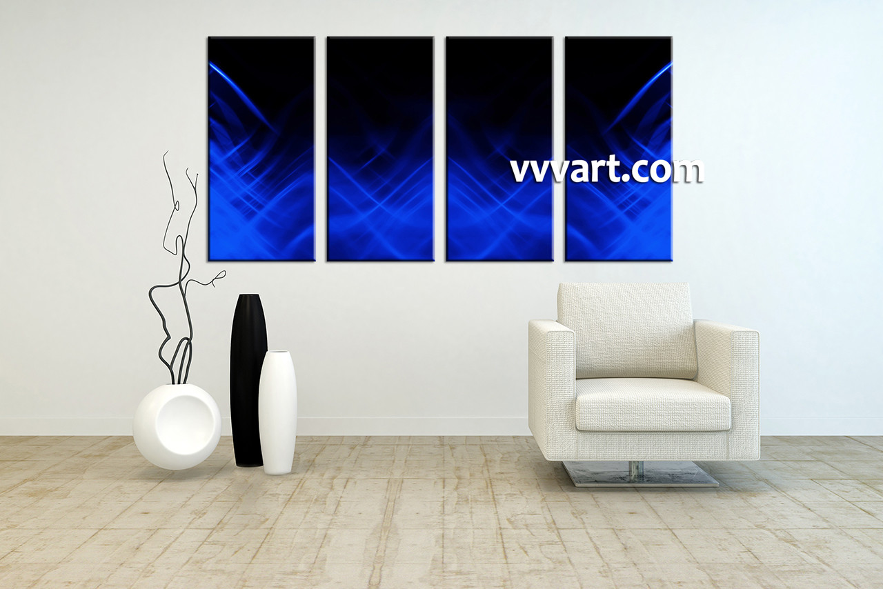 4 Piece Blue Abstract Canvas Wall Art