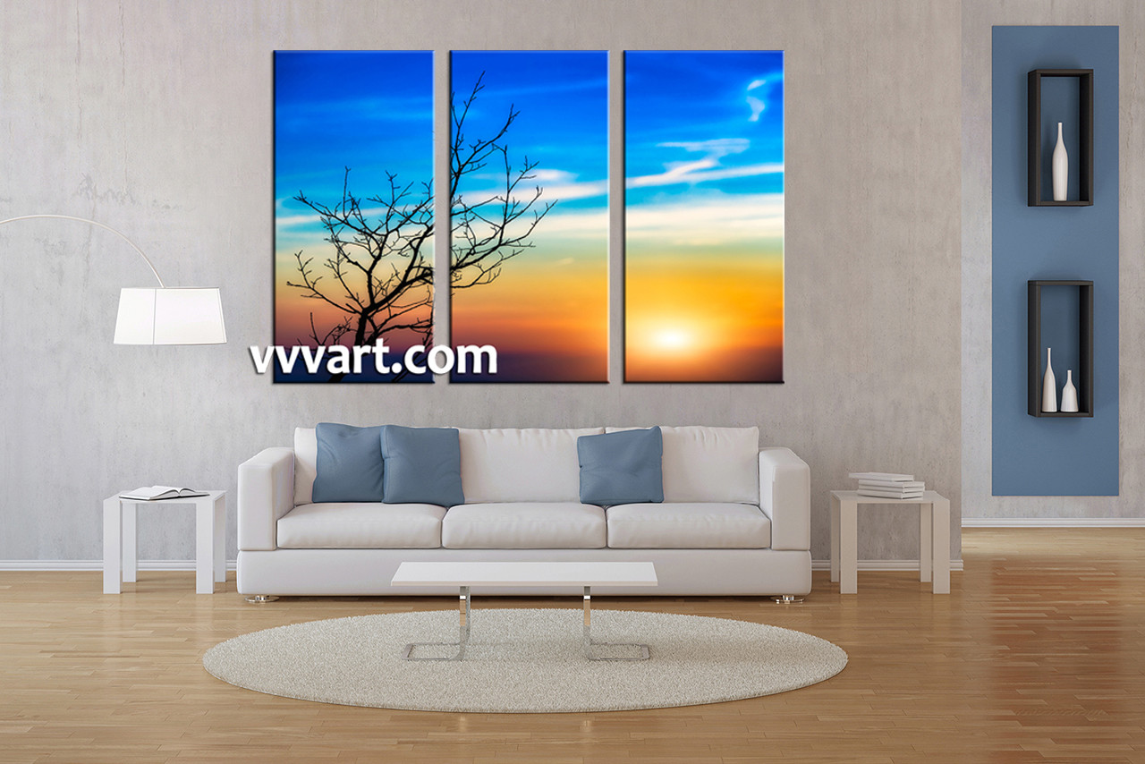 Blue Canvas Wall Art 3 piece yellow sunset sunrise landscape artwork