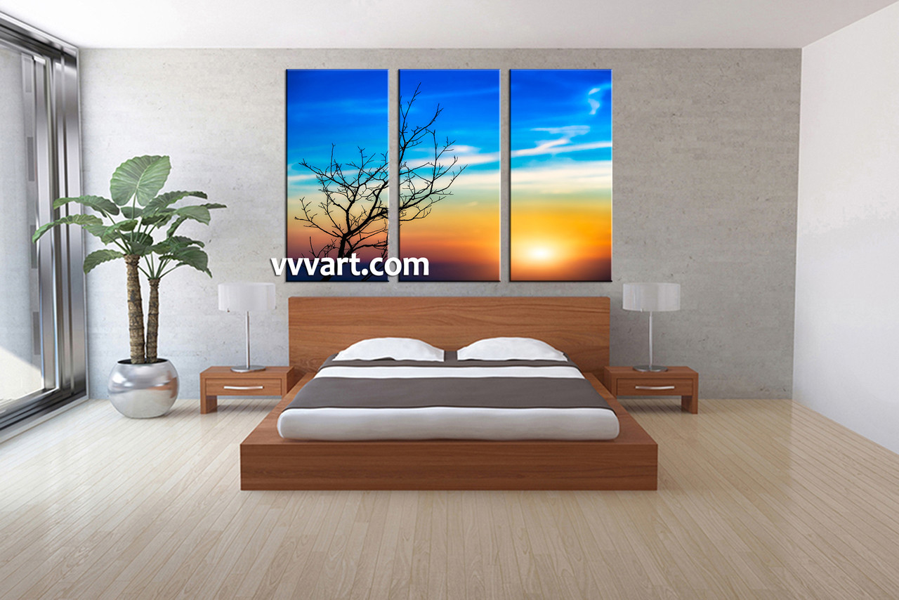 Bedroom Decor, 3 Piece Wall Art, Scenery Pictures, Sunrise Art, Sunset  Canvas