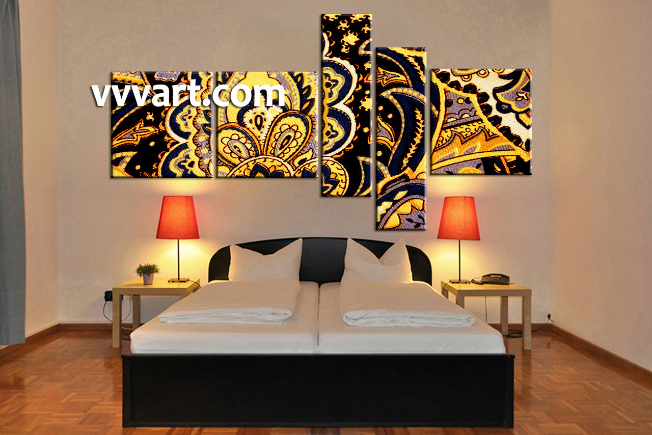 5 piece home decor yellow abstract photo canvas for 5 piece mural