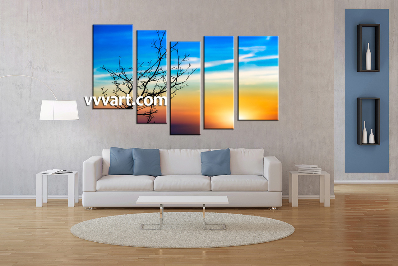 5 piece yellow landscape dead tree canvas wall art - Large pictures for living room ...