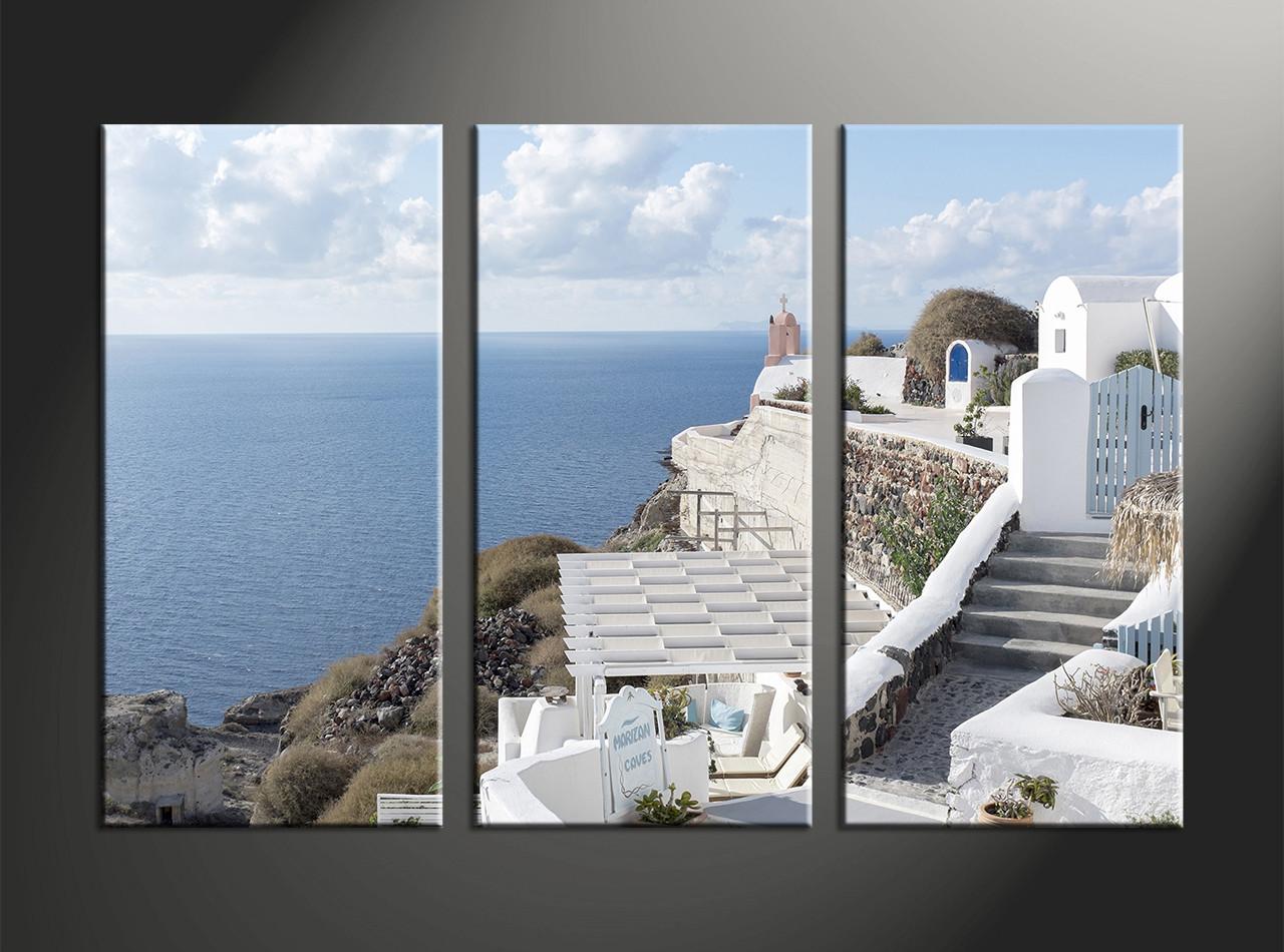 3 piece ocean home decor huge white canvas art for Ocean home decor