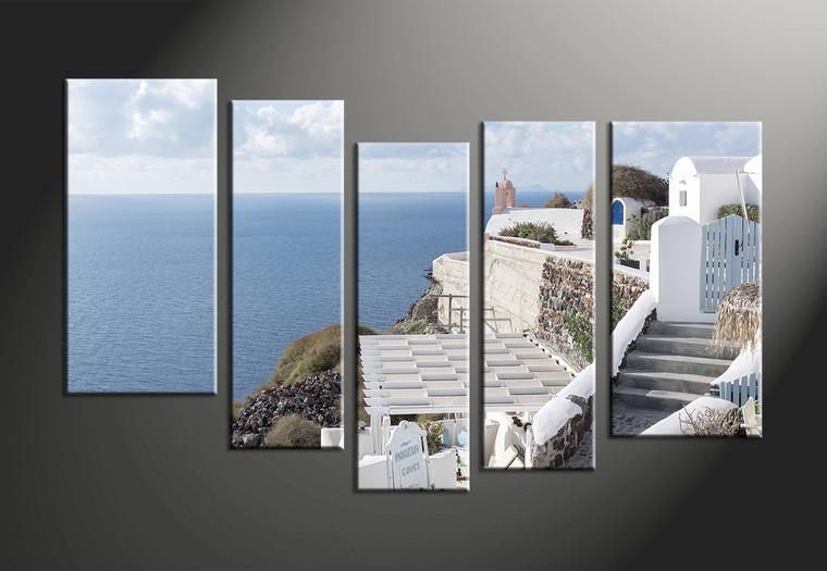 5 Piece Ocean Home Decor White Multi Panel Canvas