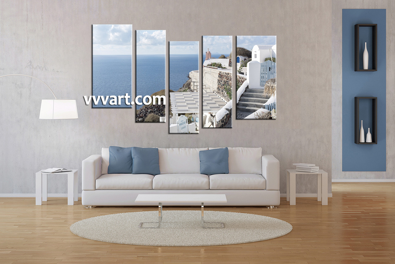 Living Room Art, 5 Piece Large Pictures, Ocean Décor, Home Artwork, Scenery