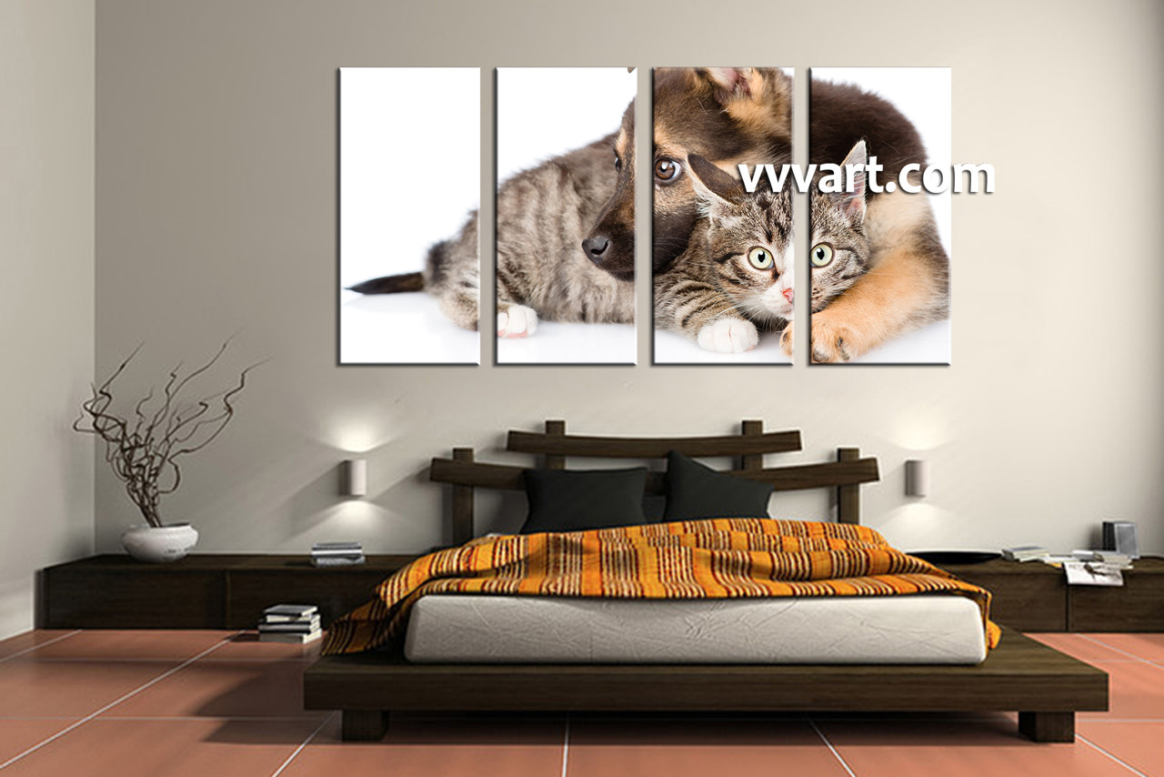 Bedroom Decor, 4 Piece Wall Art, Cat Wall Art, Wildlife Wall Decor,