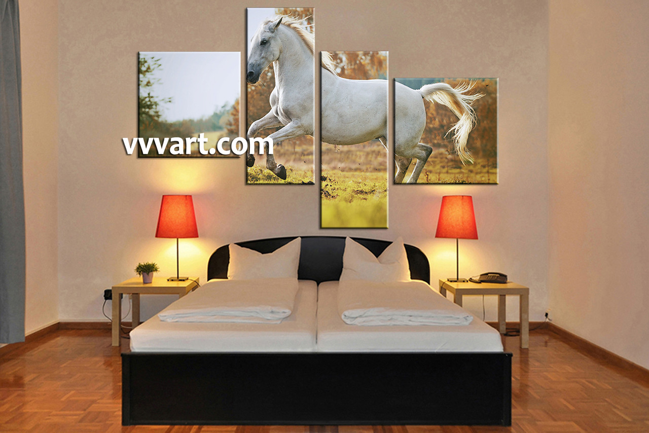 4 piece canvas wildlife white horse wall art. Black Bedroom Furniture Sets. Home Design Ideas