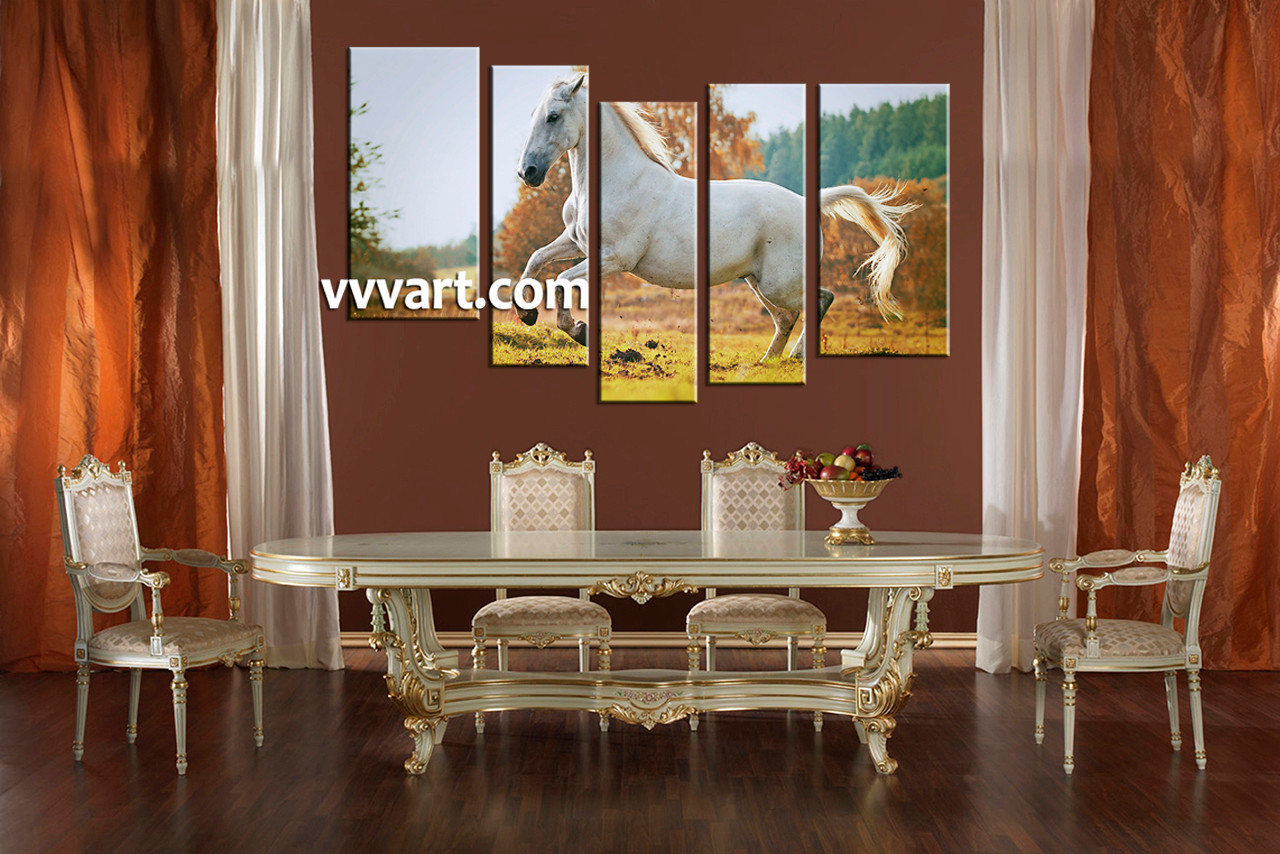 5 piece wildlife white horse large canvas for Canvas painting for dining room