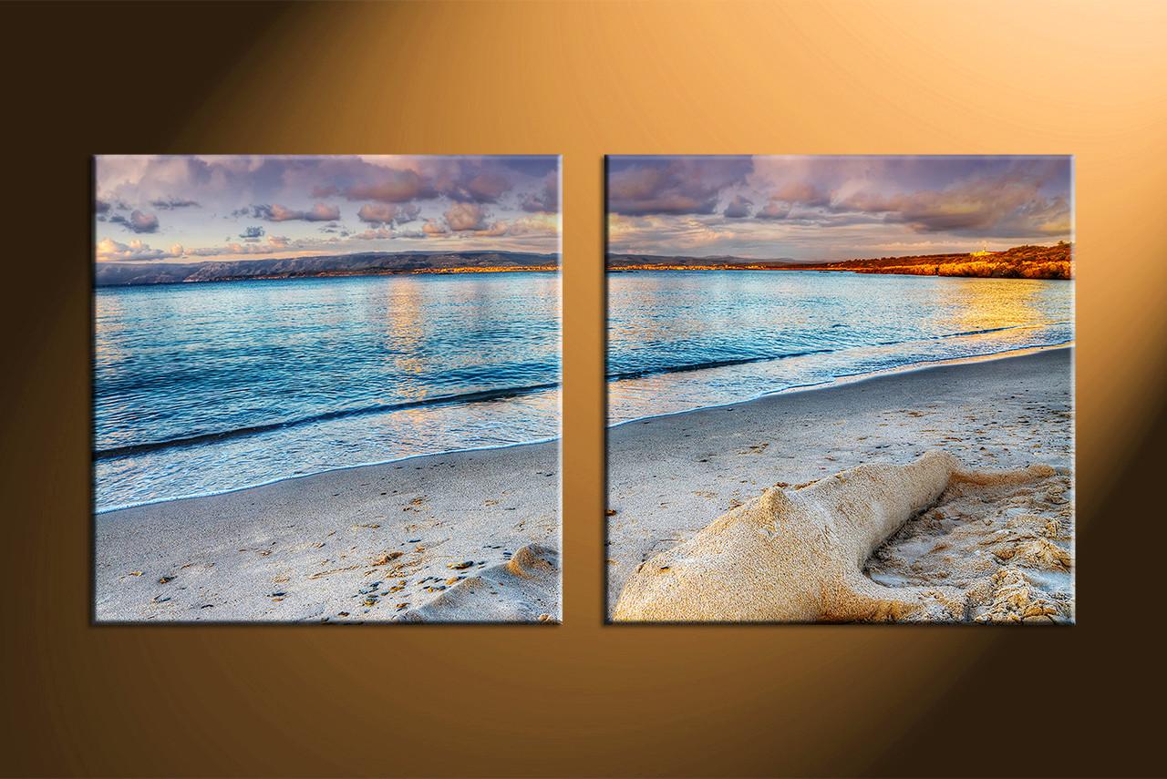2 Piece Blue Canvas Sand Ocean Wall Art