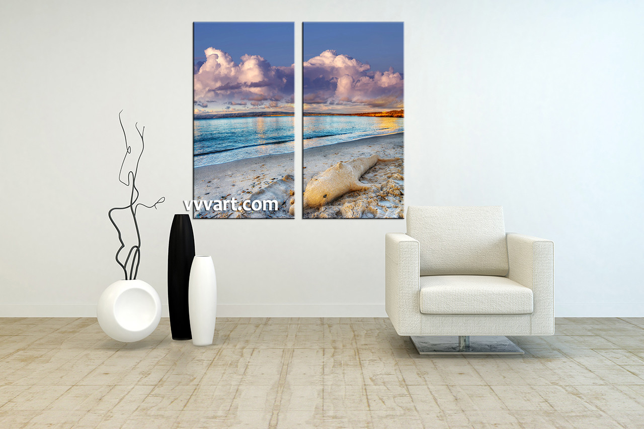 2 Piece Blue Ocean Sand Canvas Art Prints