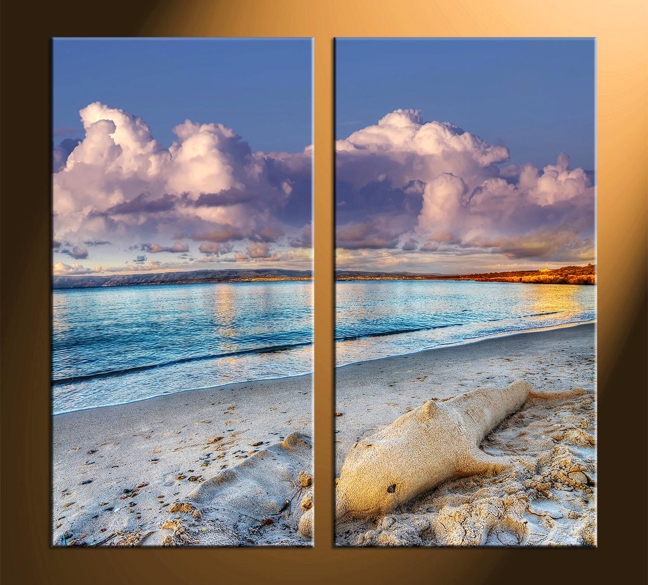 2 piece panoramic wall decor mountain canvas photography sea