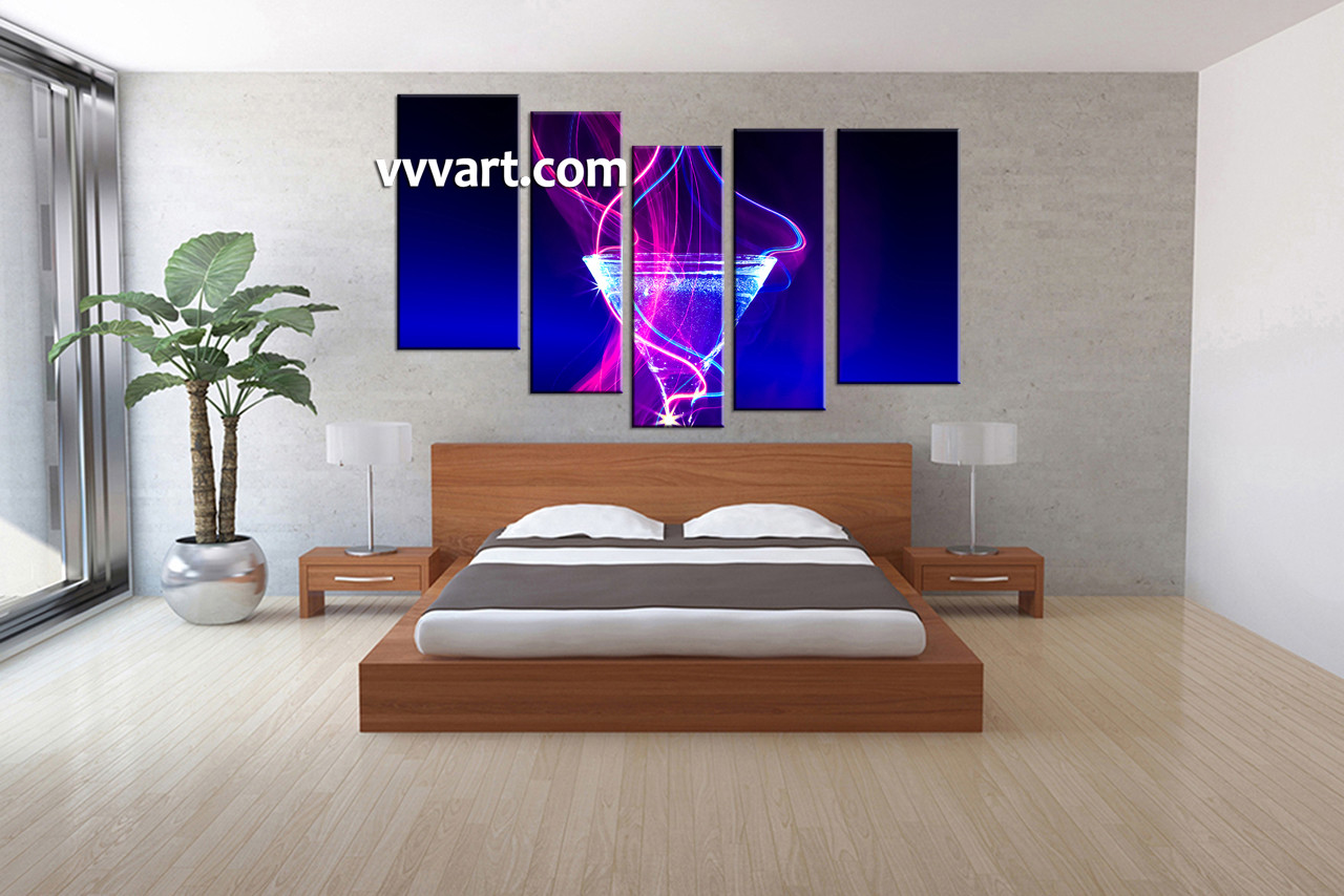 5 piece blue wine canvas wall art. Black Bedroom Furniture Sets. Home Design Ideas