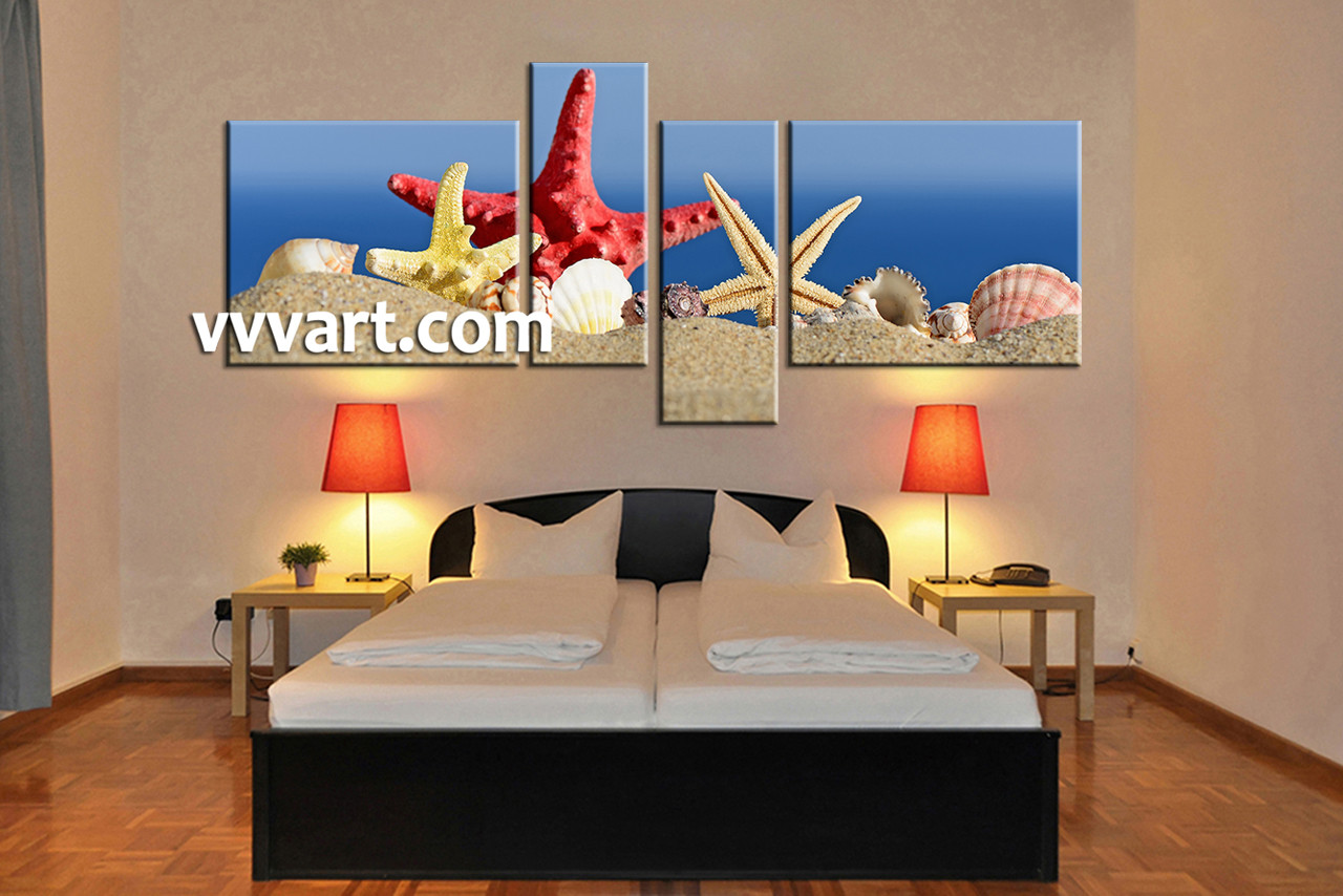 Red Starfish Wall Decor : Piece canvas red starfish blue ocean pictures
