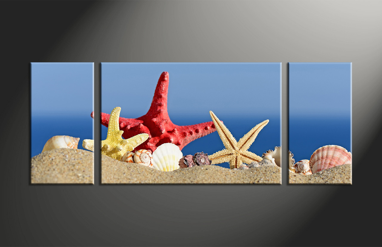 Red Starfish Wall Decor : Piece red yellow starfish blue ocean pictures