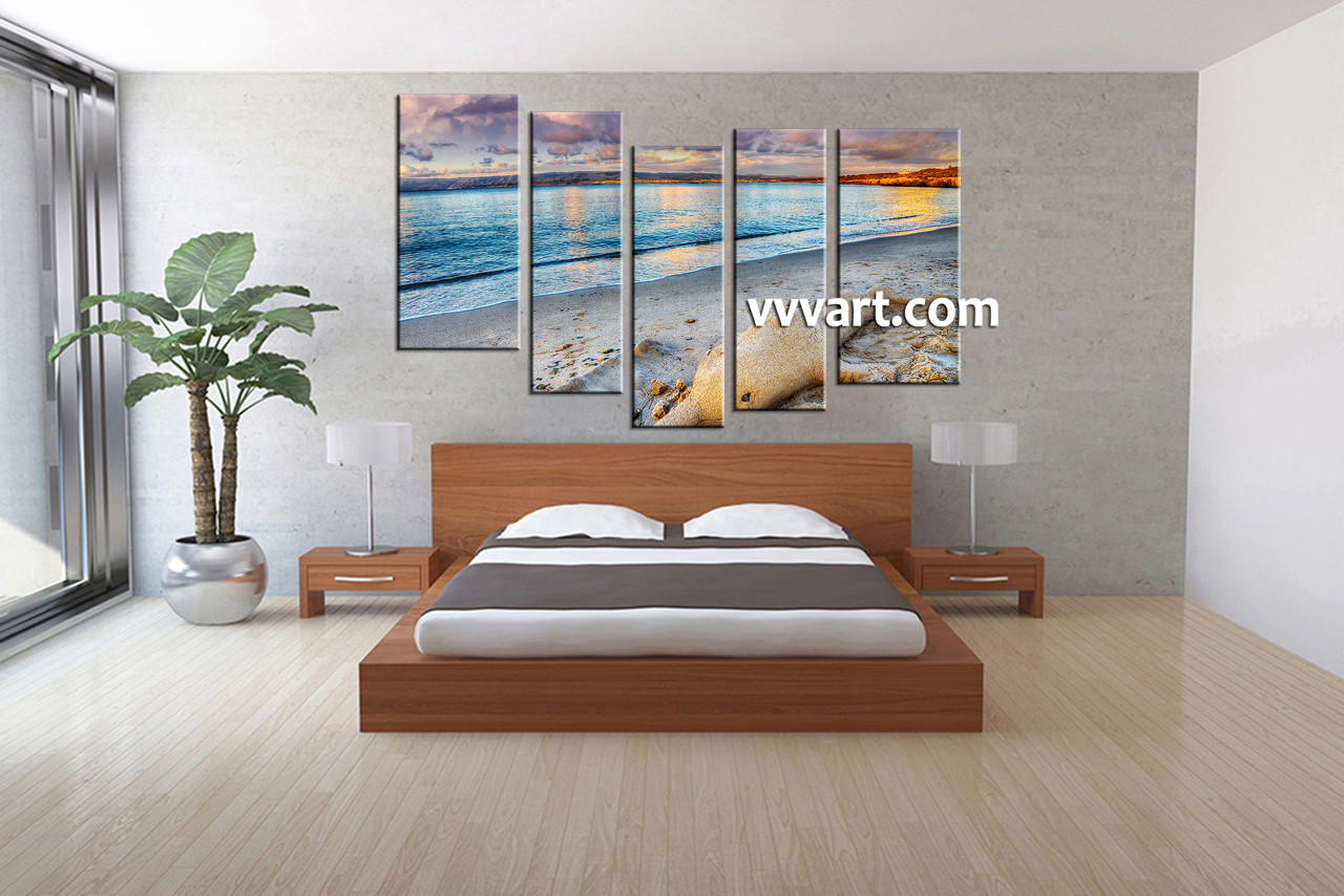 5 piece blue canvas ocean sand wall decor for 5 piece mural