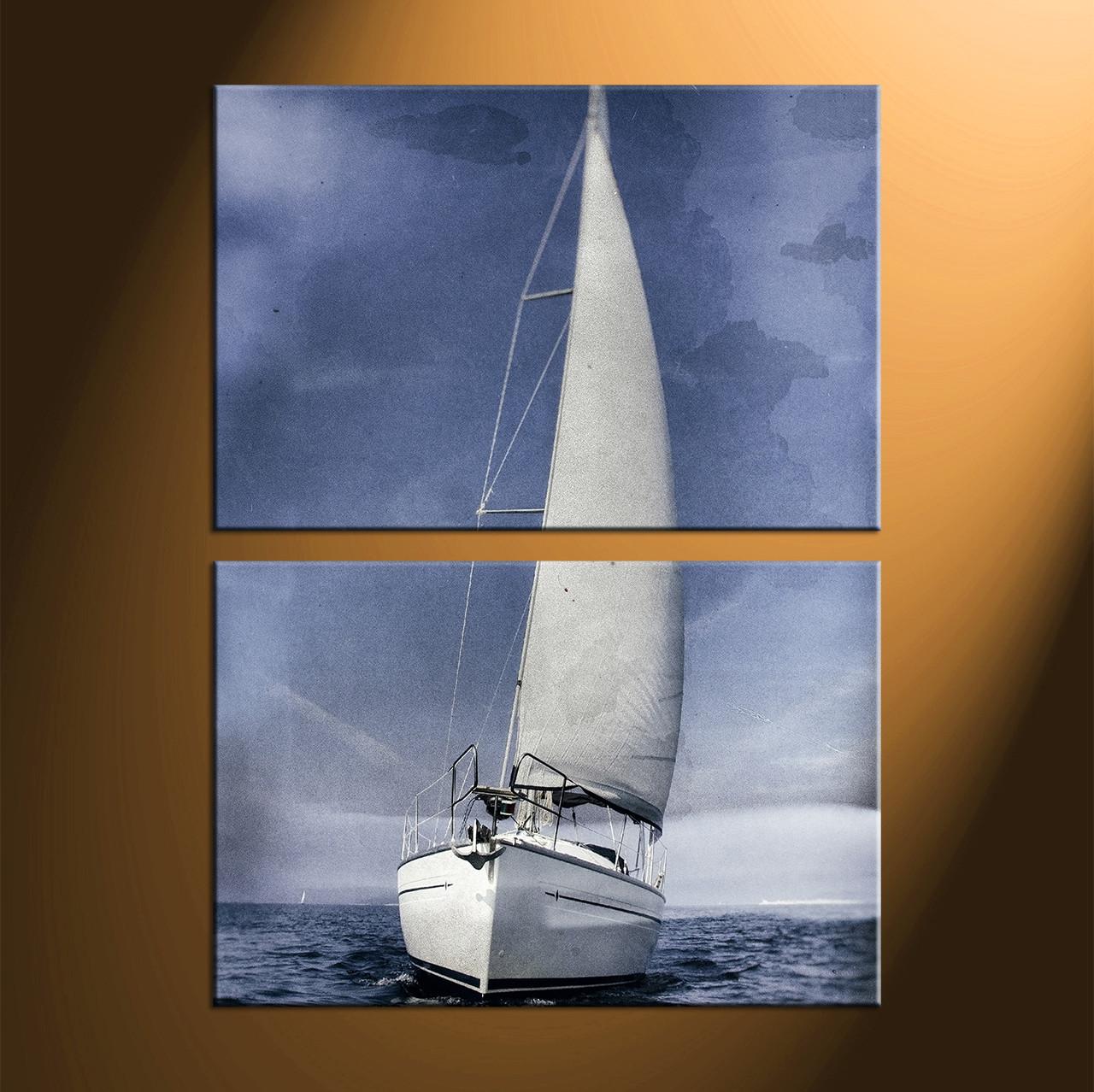 Free Shipping 4pcs Shell Pearl Beach Wall Painting Print: 2 Piece Grey Ocean Ship Multi Panel Canvas