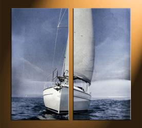 Home Wall Decor, 2 piece canvas art prints, ocean multi panel art, ship pictures, ocean photo canvas