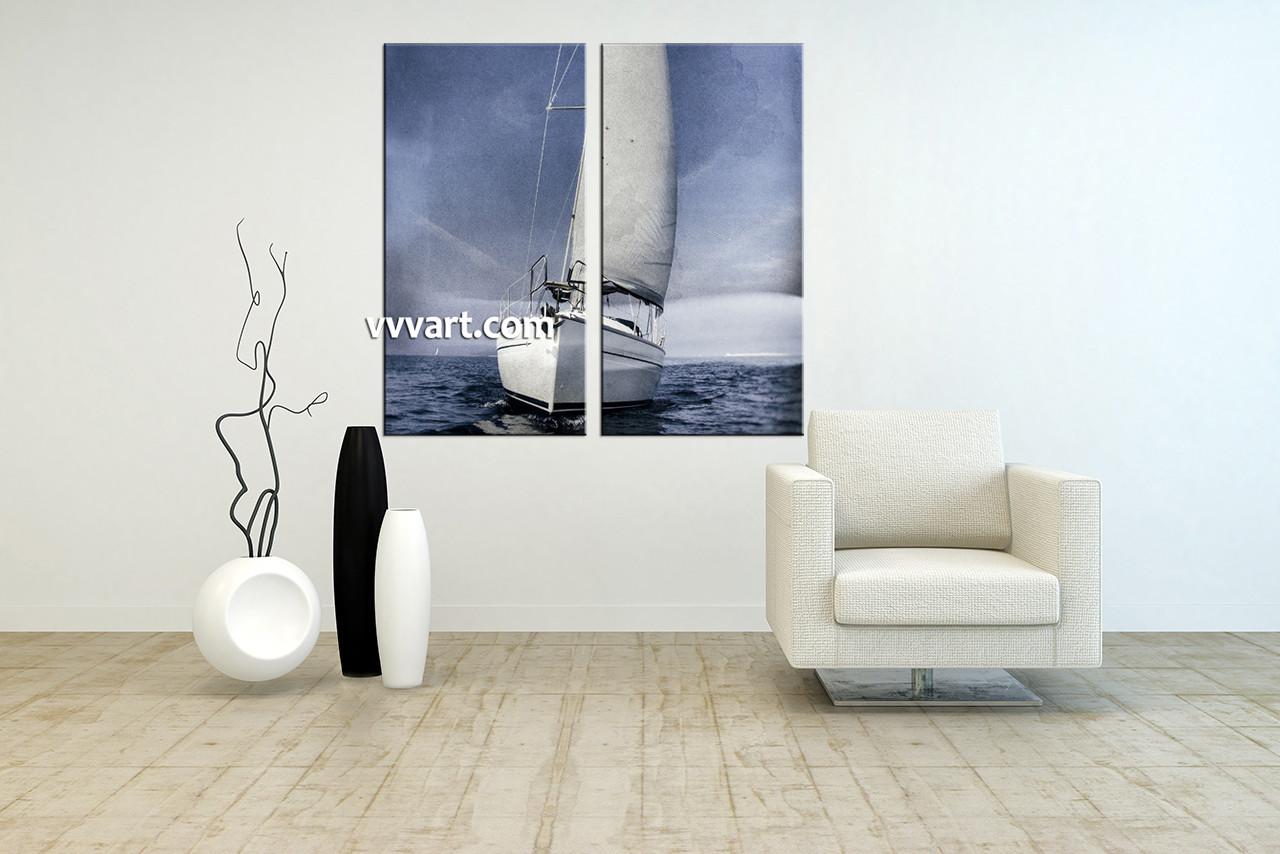 2 Piece Grey Ocean Ship Canvas Photography