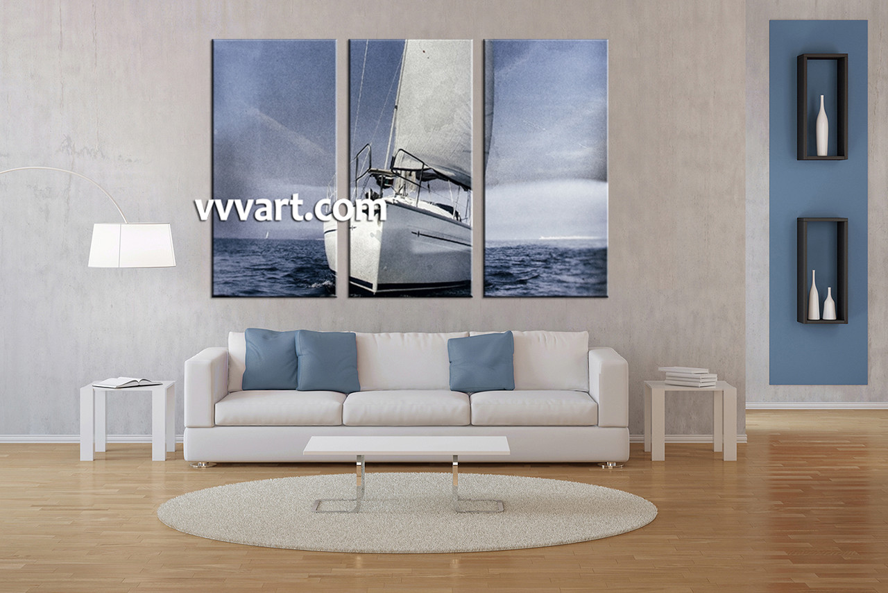 Living Room Art, 3 Piece Canvas Wall Art, Ocean Multi Panel Canvas, Ship