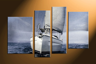 home decor, 4 piece canvas art prints, ocean multi panel art, ship large canvas, scenery art