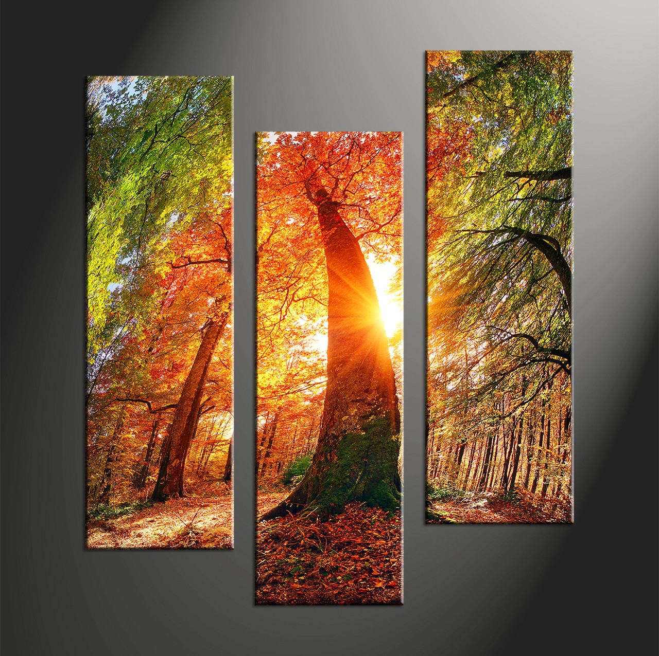 Triptych Red Scenery Sunrise Multi Panel Canvas