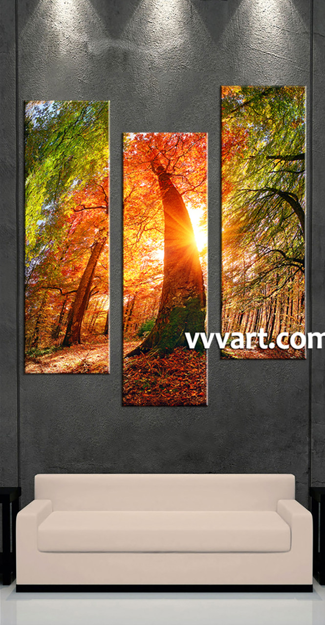 Nature Canvas Wall Art triptych red scenery sunrise multi panel canvas