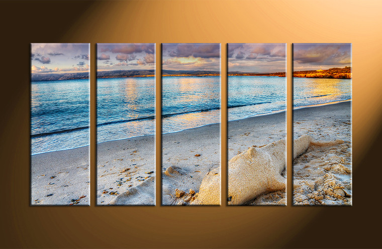 5 Piece Blue Canvas Ocean Decor
