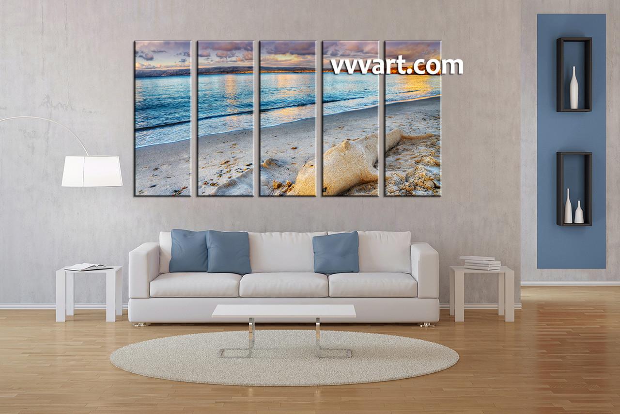 Ocean Decor For Living Room 5 Piece Blue Canvas Ocean Decor