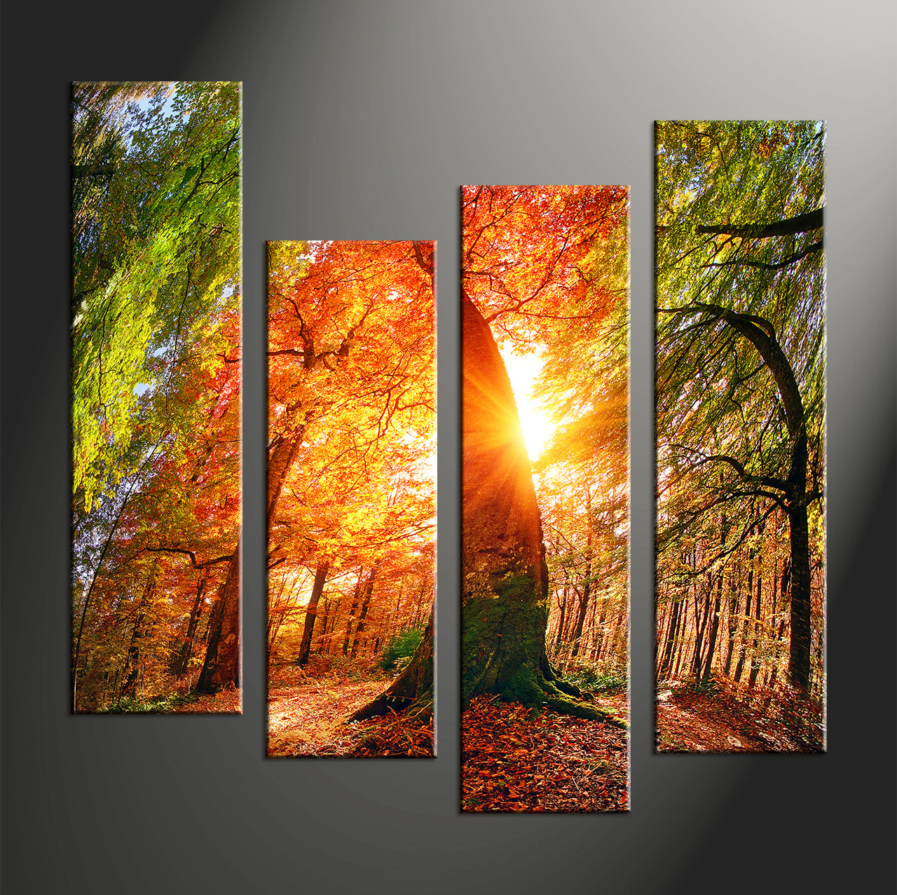 4 piece red scenery sunrise multi panel canvas