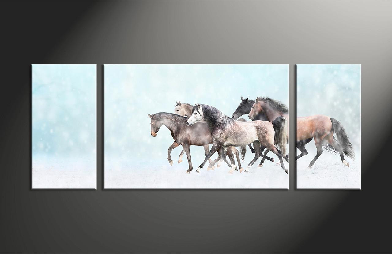 3 piece animal wildlife horse snow blue canvas art prints