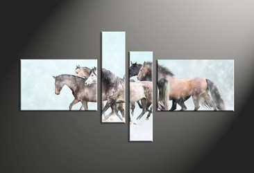 home decor, 4 piece canvas art prints, animal canvas print, horse canvas photography, snow group canvas