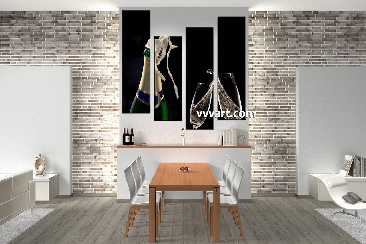 Wine Bottle Wall Art 4 piece wine bottle glass black canvas photography