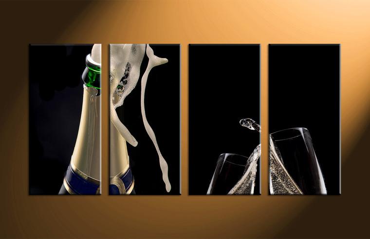 4 Piece Bottle Wine Glass Black Photo Canvas Part 77