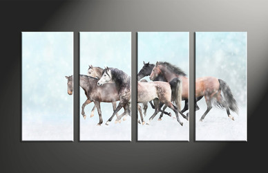 home decor, 4 piece photo canvas, animal canvas print, horse canvas photography, snow multi panel canvas