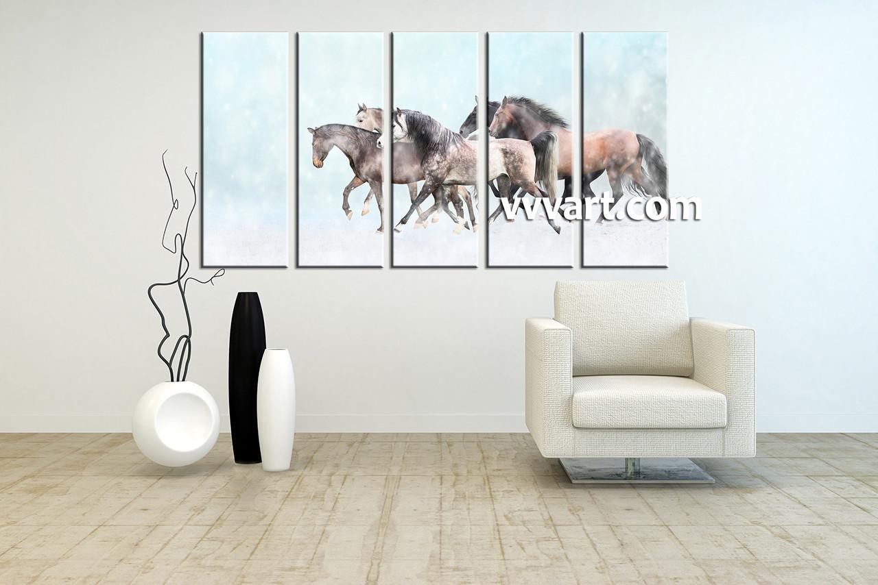 5 Piece Animal Wildlife Horse Blue Multi Panel Art