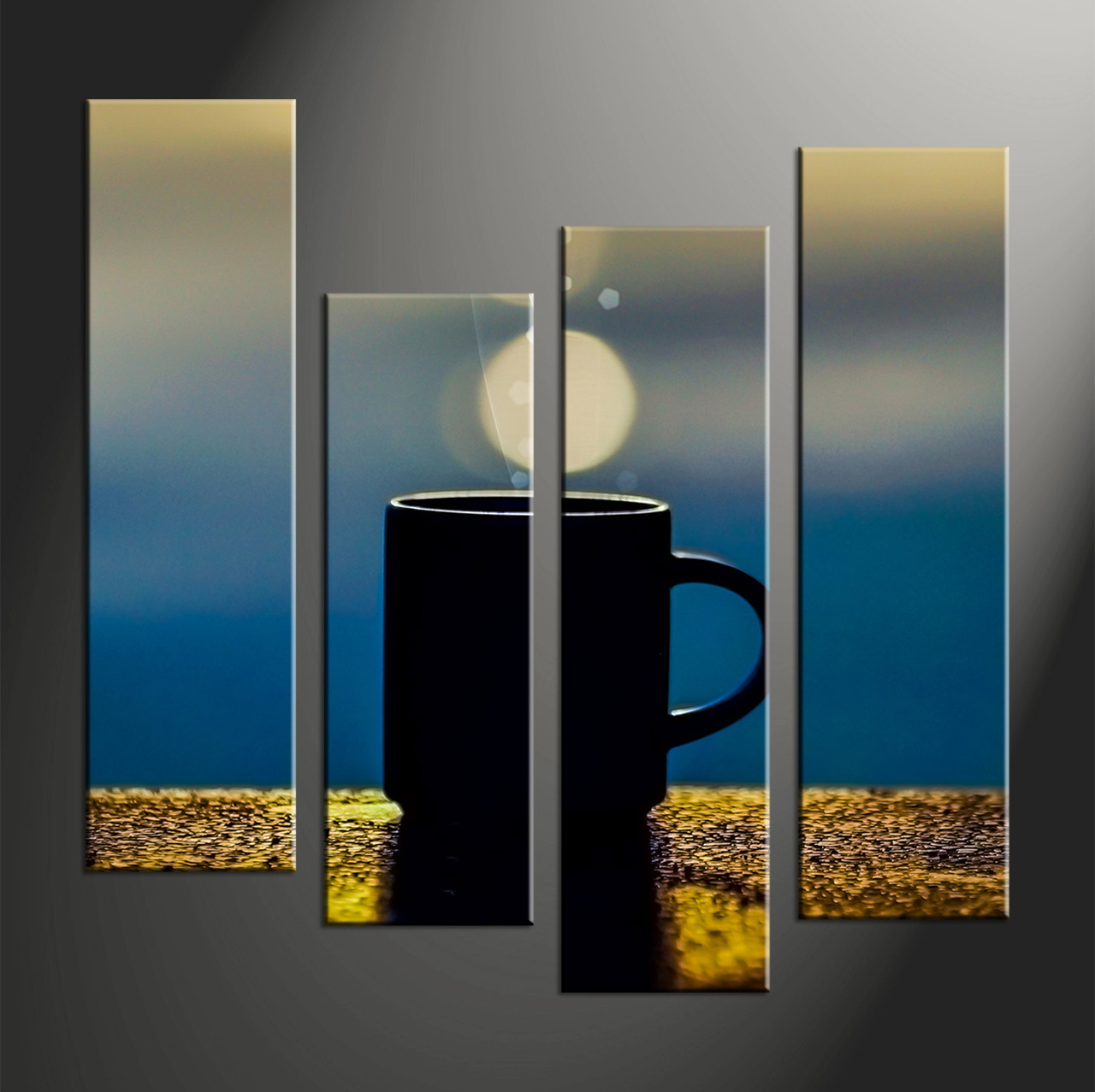 Set Of 3 Coffee Cup Canvas Wraps: 4 Piece Yellow Abstract Modern Cup Sun Canvas Wall Art