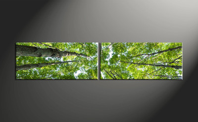 home decor, 2 piece canvas art prints, scenery artwork, nature large canvas, leafy tree wall décor