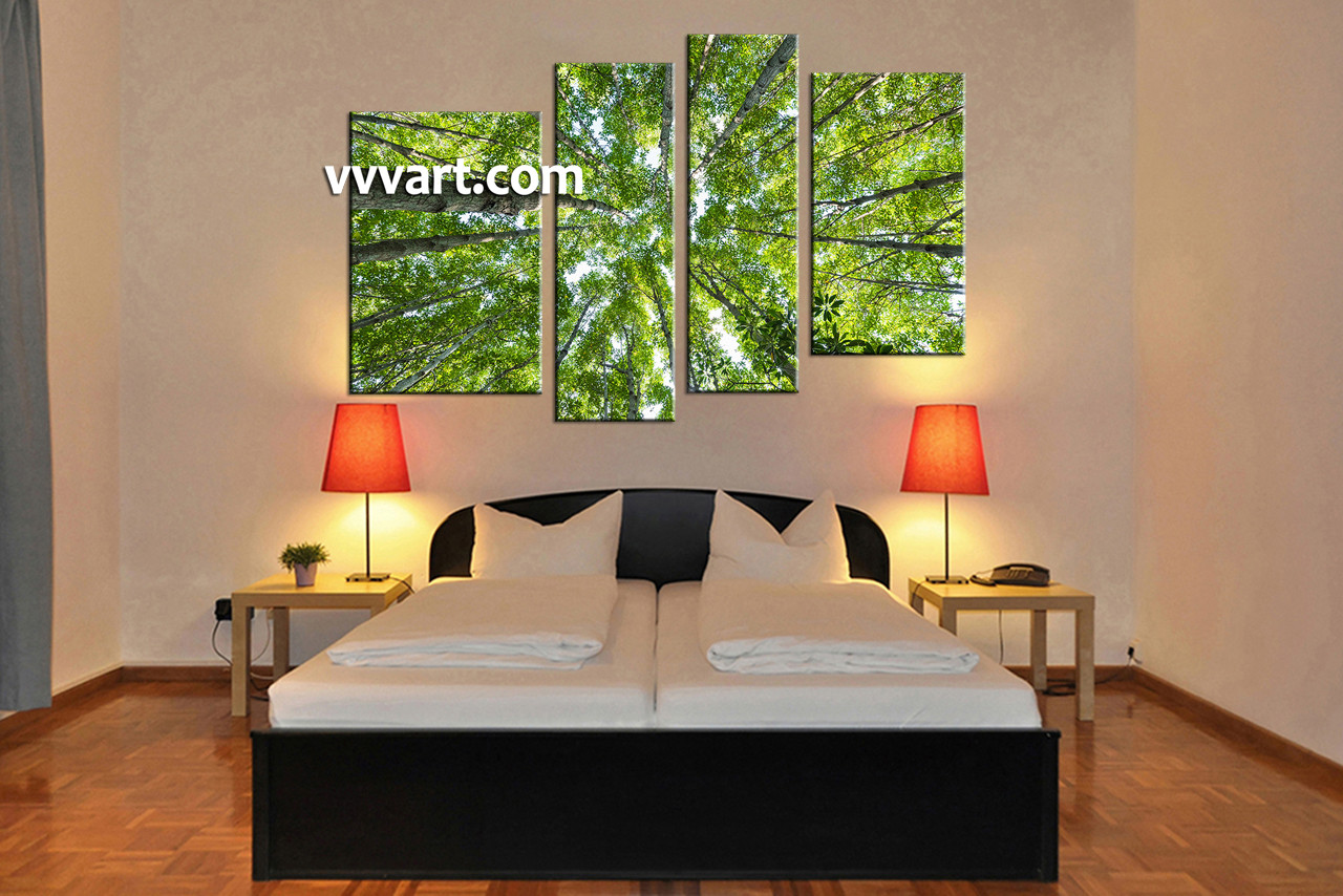Wall Art Trees 4 piece scenery green nature trees multi panel canvas