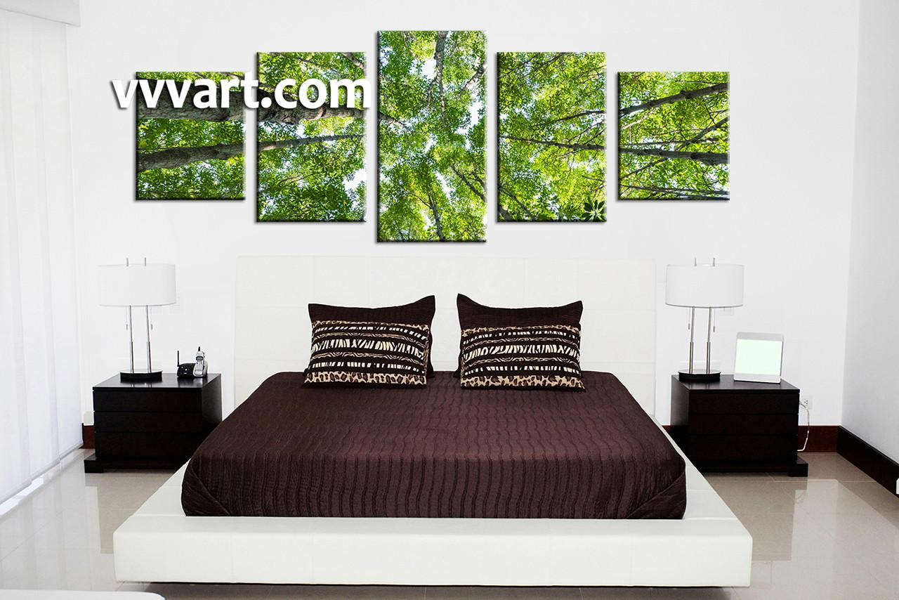 Tree Branch Wall Art 5 piece green leafy scenery trees canvas wall art