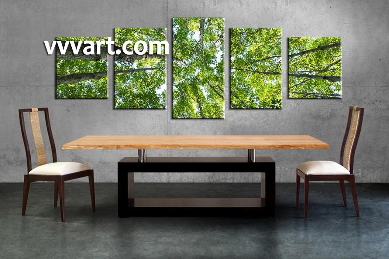 Bedroom wall art trees - Dining Room Wall Decor 5 Piece Wall Art Scenery Multi Panel Art Leafy