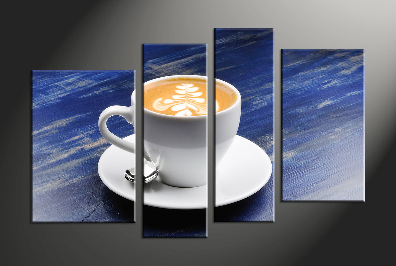 4 piece blue canvas white modern cup abstract large pictures 4 piece canvas art prints cup multi panel art cup large canvas kitchen