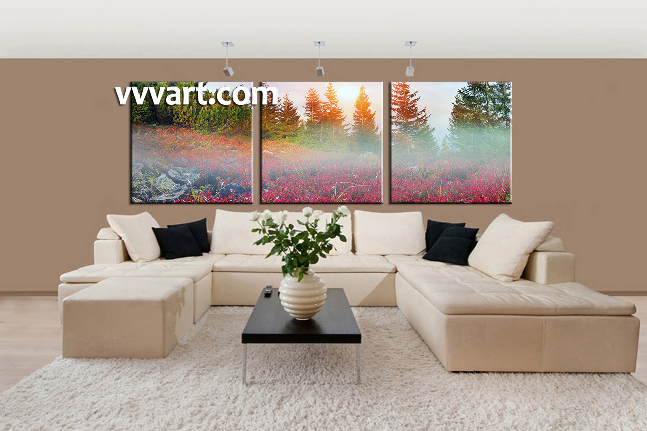 3 Piece Colorful Landascape Trees Canvas Wall Art
