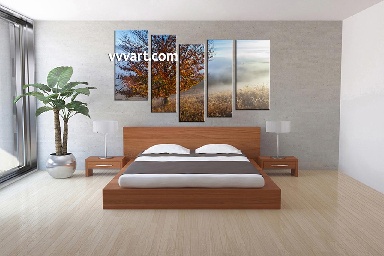 Bedroom wall art trees - Bedroom Decor 5 Piece Wall Art Landscape Wall Art Tree Wall Decor