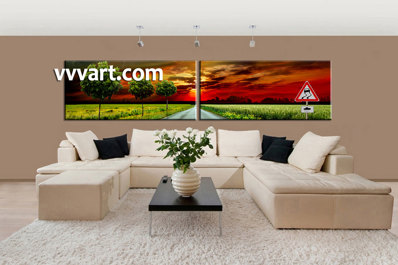 Living Room Art, 2 Piece Canvas Wall Art, Scenery Decor, Sunset Artwork, Part 58