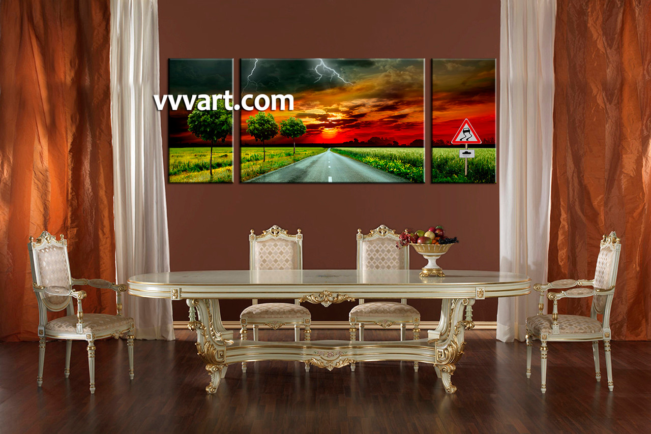 Dining room art 3 piece canvas art prints landscape large pictures signboard multi