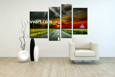 living room art, 4 piece canvas wall art, signboard decor, scenery pictures, sunset group canvas