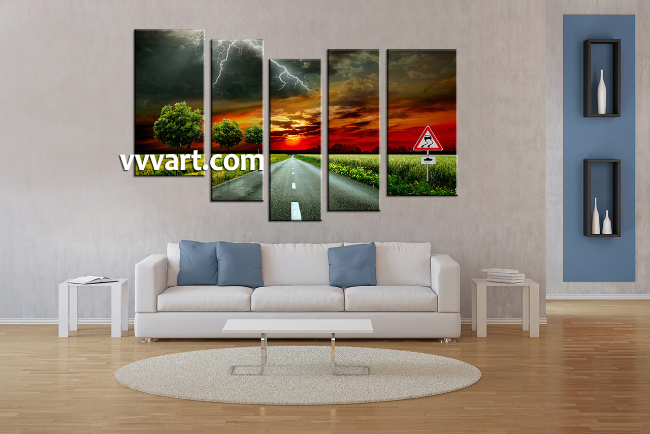 5 piece red canvas scenery sunset artwork. Black Bedroom Furniture Sets. Home Design Ideas
