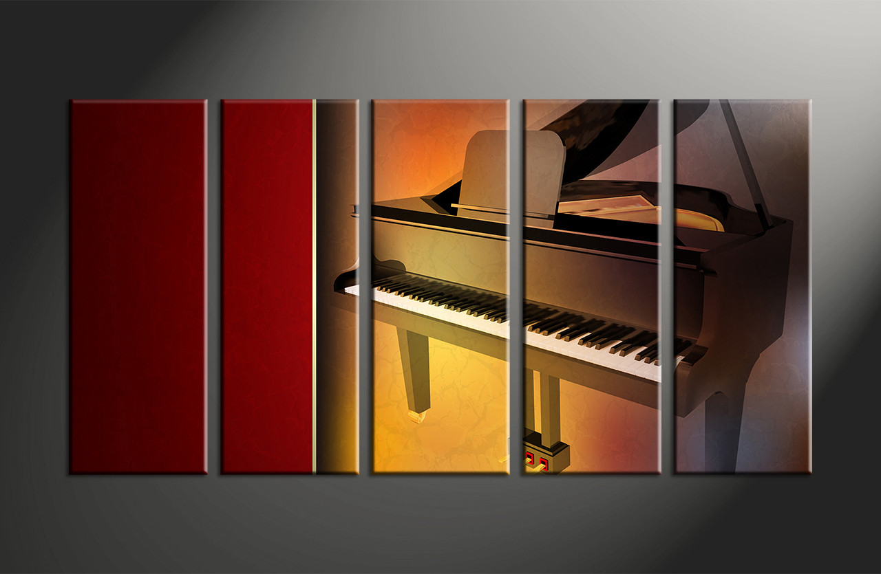 5 piece music brown piano large canvas for 5 piece mural