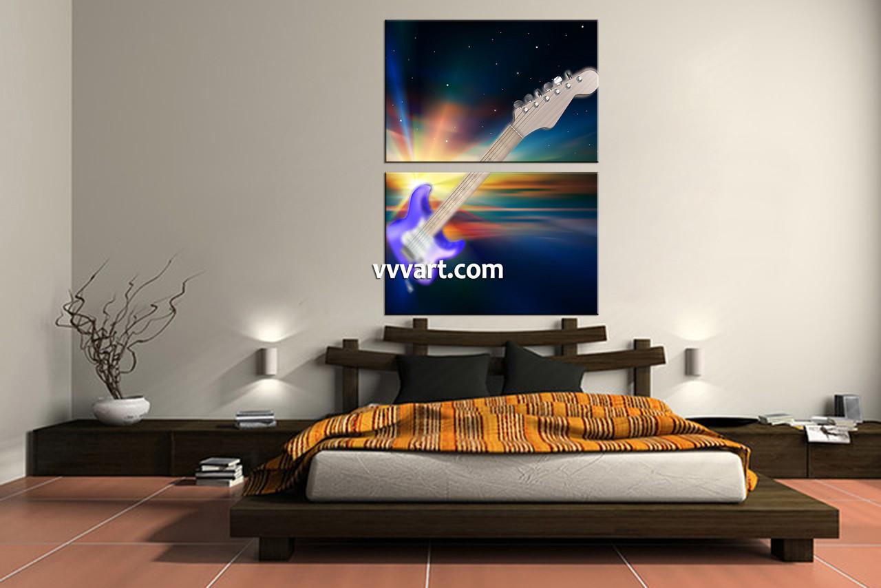 Bedroom Decor, 2 Piece Wall Art, Guitar Wall Art, Modern Wall Décor,