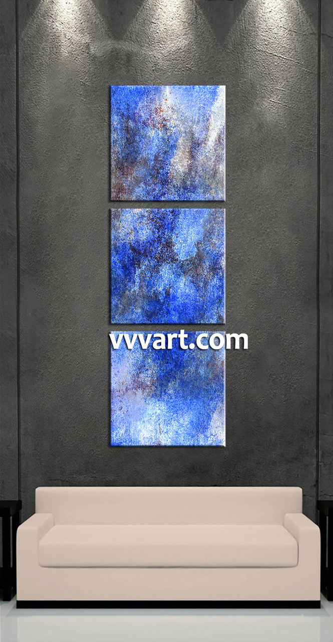 3 Home Decor Trends For Spring Brittany Stager: 3 Piece Canvas Abstract Blue Huge Pictures