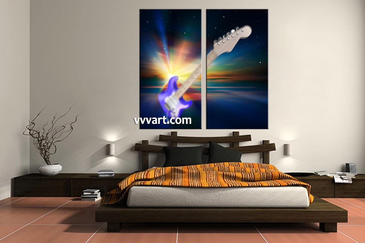 Bedroom Decor, 2 Piece Wall Art, Music Huge Canvas Art, Guitar Wall Decor